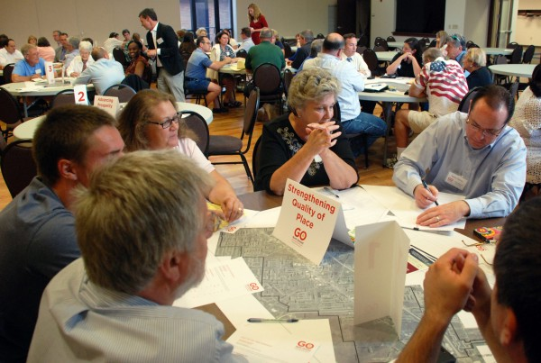 Citizens break into groups to discuss strengths and weaknesses of North Olmsted