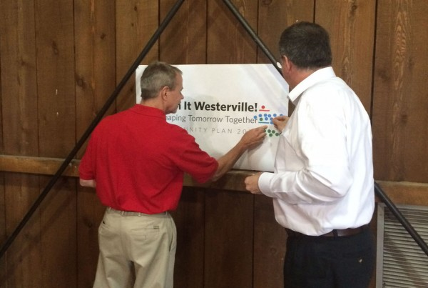 Members of Westerville city council, planning commission and other city staff meet to discuss the future of their city