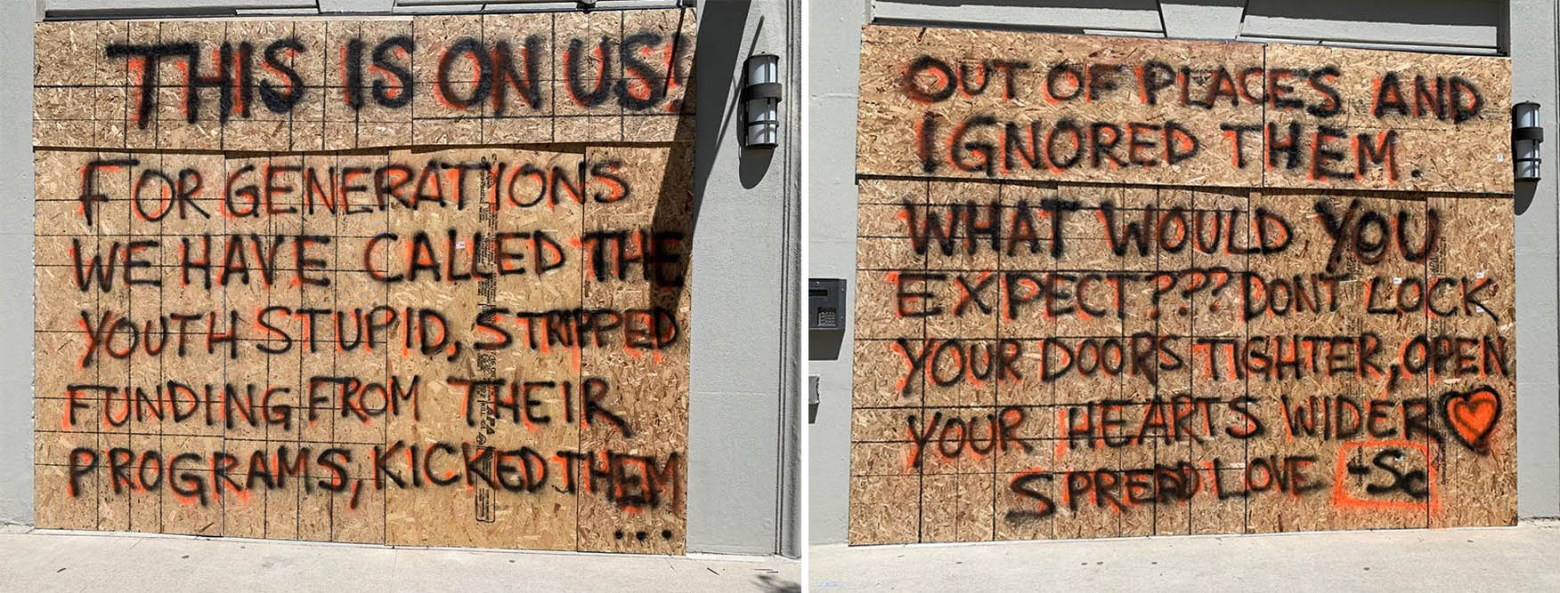 A message on boarded-up storefronts