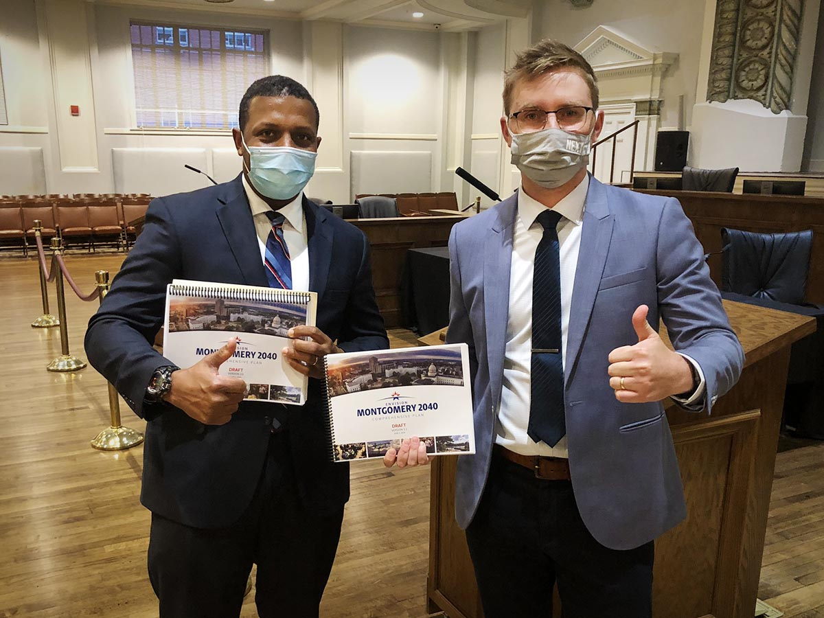 City of Montgomery Planning Director, Robert Smith (left) and Planning NEXT Senior Planner, Kyle May (right) poses at the July 2020 City Council meeting.