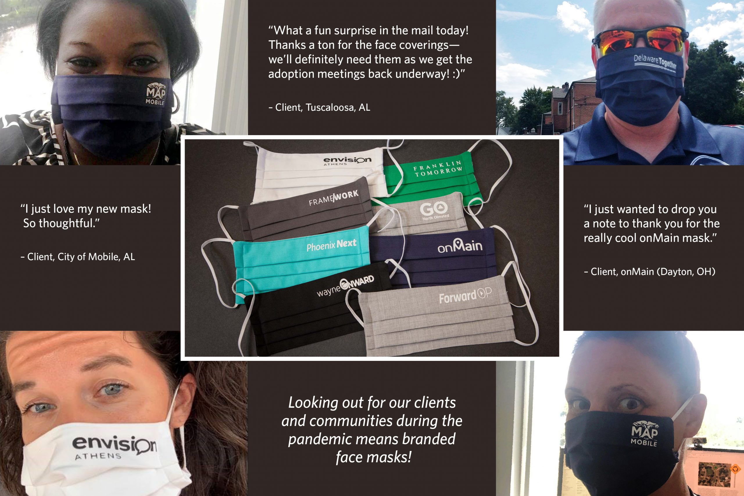 Clients wearing branded face masks